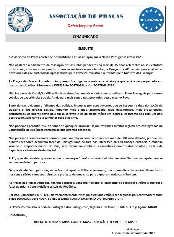 Πορτογαλία: η αναταραχή εξαπλώνεται στον στρατό και την αστυνομία